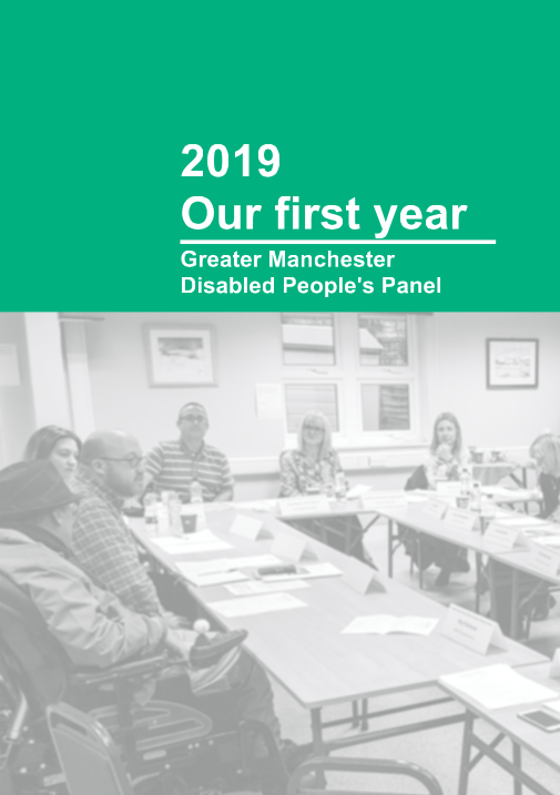 Cover of the Panel's Year One report showing white text on green background and black and white image of disabled members at a meeting.